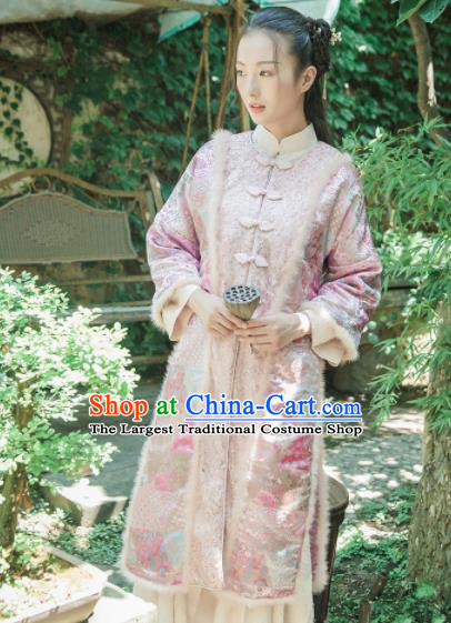 Chinese Traditional Costumes National Upper Outer Garment Pink Silk Qipao Coat for Women