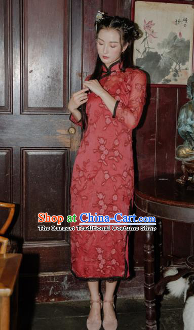 Chinese Traditional Costumes National Red Qipao Dress Classical Cheongsam for Women