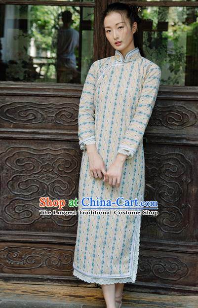 Chinese Traditional Costumes National Beige Qipao Dress Classical Cheongsam for Women