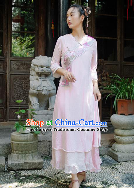 Chinese Traditional Costumes National Pink Qipao Dress Classical Cheongsam for Women
