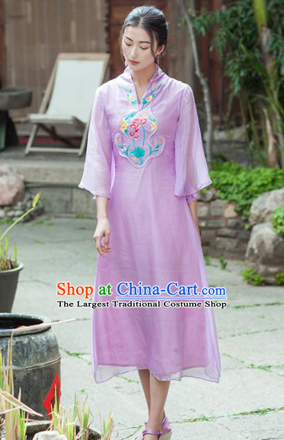 Chinese Traditional Costumes National Qipao Dress Classical Lilac Silk Cheongsam for Women