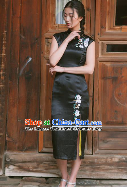 Chinese Traditional Costumes National Qipao Dress Classical Black Silk Cheongsam for Women