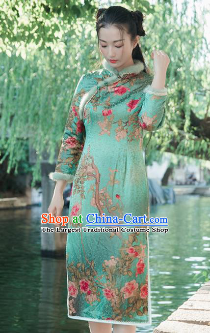 Chinese Traditional Costumes National Qipao Dress Mink Wool Green Cheongsam for Women