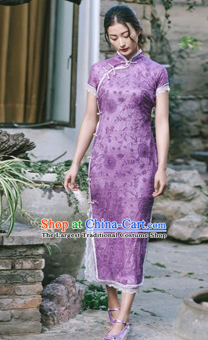 Chinese Traditional Costumes National Tang Suit Purple Qipao Dress Classical Cheongsam for Women