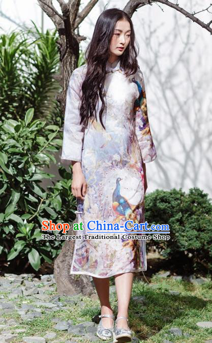 Chinese Traditional Costumes National Printing Peacock Qipao Dress Tang Suit Cheongsam for Women