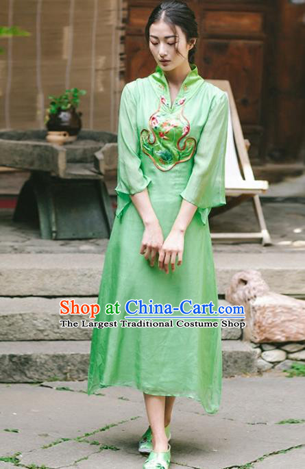 Chinese Traditional Costumes National Embroidered Green Qipao Dress Tang Suit Cheongsam for Women