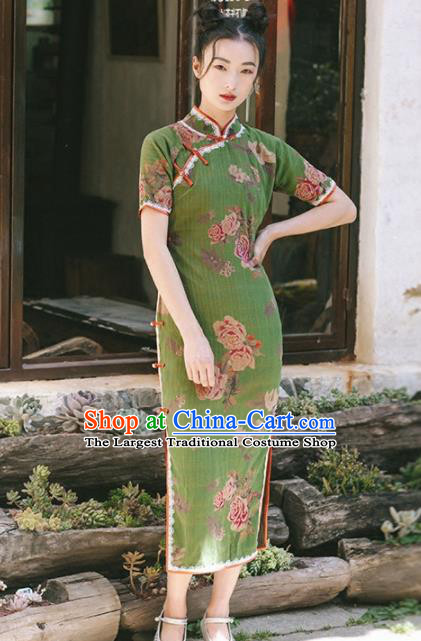 Chinese Traditional Costumes National Green Qipao Dress Tang Suit Cheongsam for Women