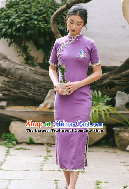 Chinese Traditional Costumes National Purple Qipao Dress Tang Suit Cheongsam for Women