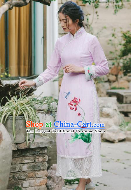 Chinese Traditional Costumes National Embroidered Pink Qipao Dress Tang Suit Cheongsam for Women