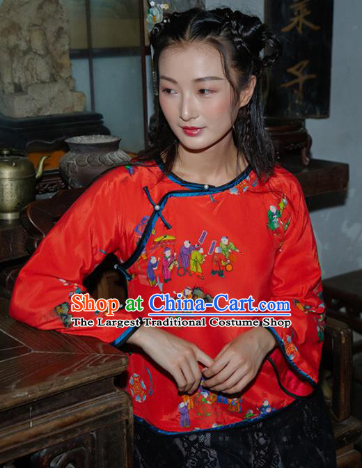 Chinese Traditional Costumes National Tang Suit Blouse Red Silk Qipao Shirt for Women