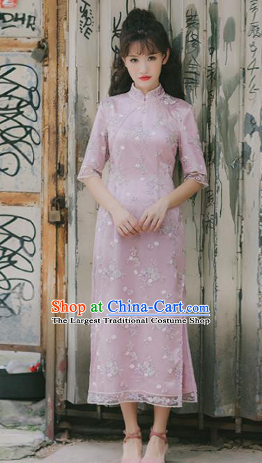 Chinese National Pink Qipao Dress Traditional Costumes Tang Suit Cheongsam for Women