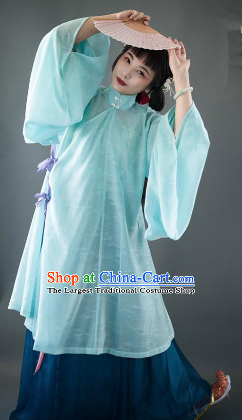 Chinese Traditional Ancient Ming Dynasty Historical Costumes Green Blouse and Navy Skirt Complete Set for Women