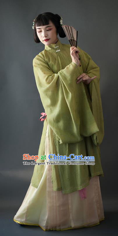 Chinese Traditional Ancient Ming Dynasty Historical Costumes Green Blouse and Beige Skirt Complete Set for Women