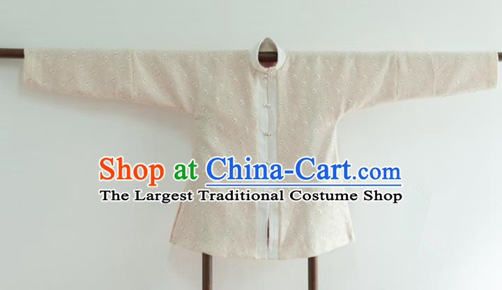 Chinese Ancient Ming Dynasty Historical Costumes Traditional Beige Blouse for Women