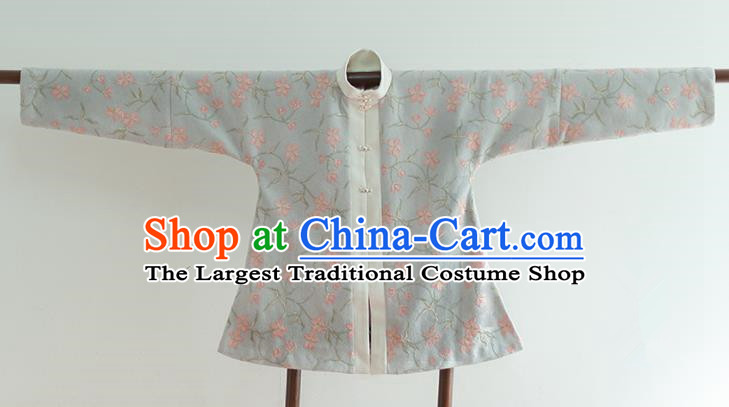 Chinese Ancient Ming Dynasty Historical Costumes Traditional Blue Blouse for Women