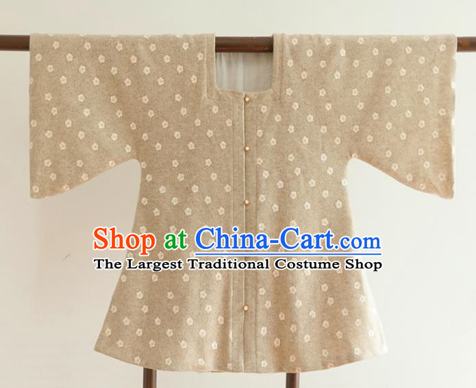 Chinese Ancient Ming Dynasty Historical Costumes Traditional Half Sleeves Beige Waistcoat for Women