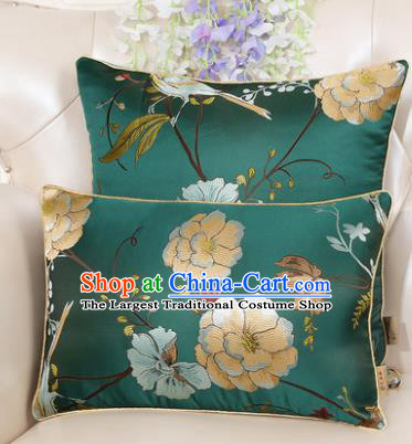 Chinese Classical Household Ornament Peony Pattern Green Brocade Back Cushion Traditional Handmade Waist Pillow