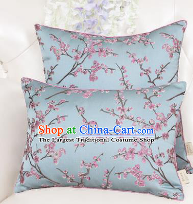 Chinese Classical Household Ornament Blue Brocade Back Cushion Traditional Handmade Waist Pillow