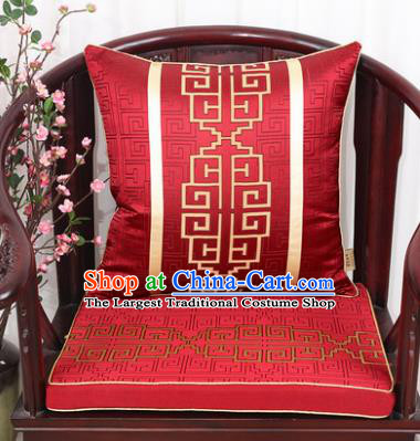 Chinese Classical Household Ornament Lucky Pattern Red Brocade Back Cushion Cover and Armchair Mat