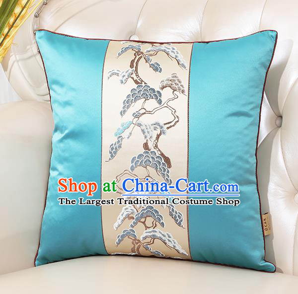Chinese Classical Household Ornament Blue Brocade Back Cushion Traditional Handmade Throw Pillow