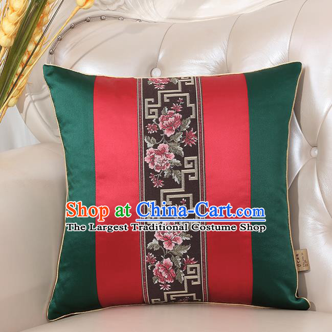 Chinese Classical Household Ornament Deep Green Brocade Back Cushion Traditional Handmade Throw Pillow