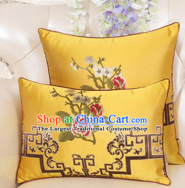Chinese Classical Household Ornament Embroidered Peony Yellow Brocade Back Cushion Traditional Handmade Waist Pillow