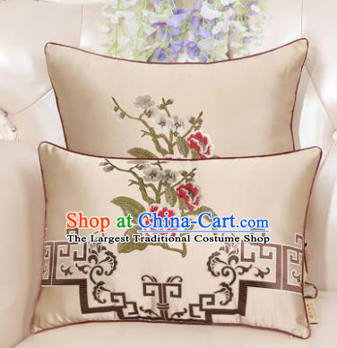 Chinese Classical Household Ornament Embroidered Peony Beige Brocade Back Cushion Traditional Handmade Waist Pillow