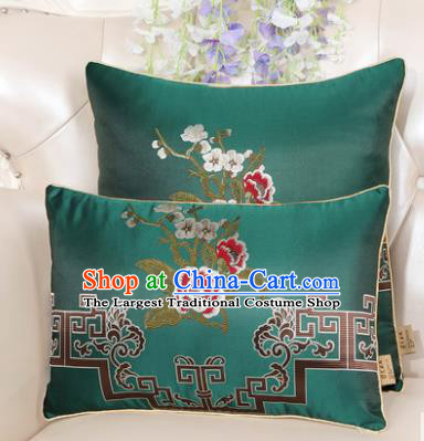 Chinese Classical Household Ornament Embroidered Peony Green Brocade Back Cushion Traditional Handmade Waist Pillow