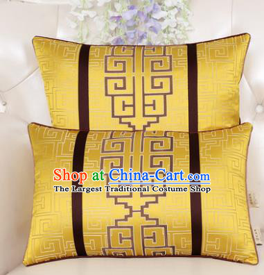 Chinese Classical Household Ornament Lucky Pattern Yellow Brocade Back Cushion Traditional Handmade Waist Pillow