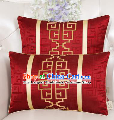 Chinese Classical Household Ornament Lucky Pattern Red Brocade Back Cushion Traditional Handmade Waist Pillow