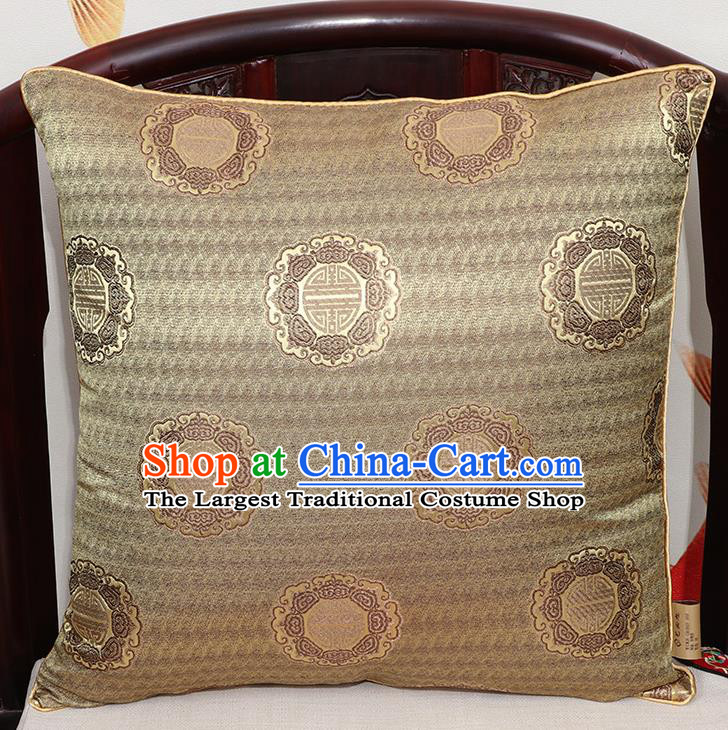 Chinese Classical Household Ornament Traditional Bronze Brocade Back Cushion Cover