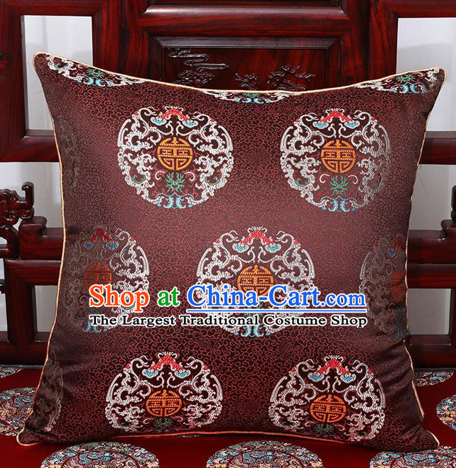 Chinese Classical Household Ornament Traditional Brown Brocade Back Cushion Cover