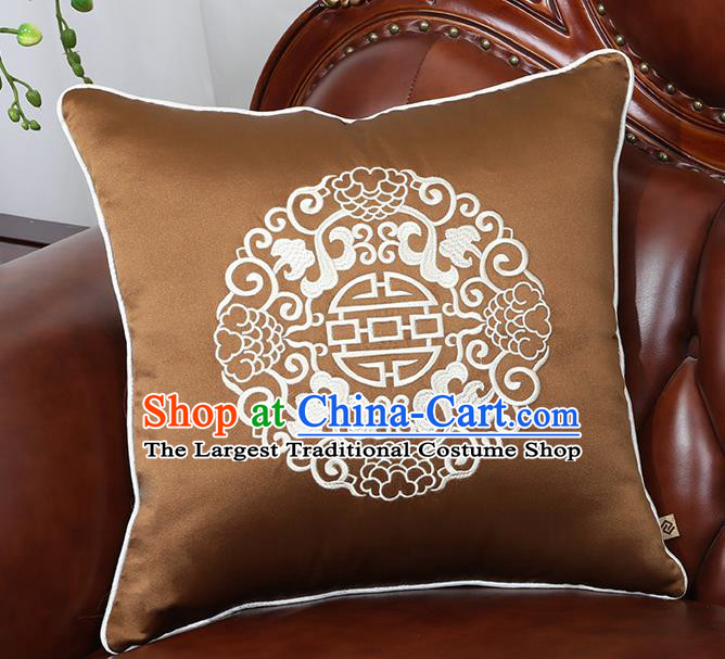 Chinese Traditional Embroidered Brown Brocade Back Cushion Cover Classical Household Ornament