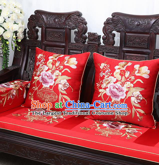 Chinese Traditional Embroidered Peony Red Brocade Back Cushion Cover Classical Household Ornament