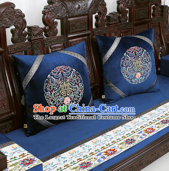 Chinese Traditional Embroidered Lotus Navy Brocade Back Cushion Cover Classical Household Ornament
