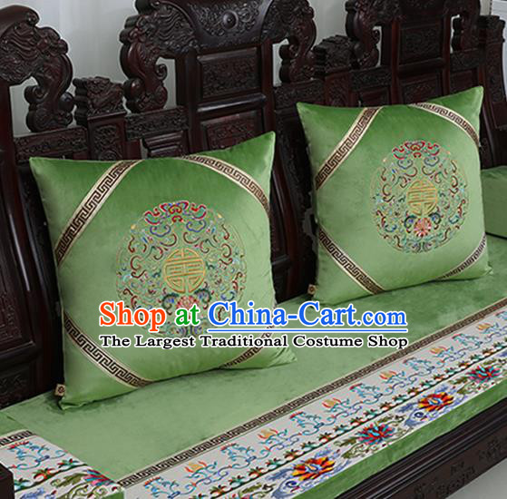 Chinese Traditional Embroidered Lotus Green Brocade Back Cushion Cover Classical Household Ornament
