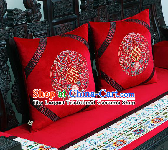 Chinese Traditional Embroidered Lotus Red Brocade Back Cushion Cover Classical Household Ornament