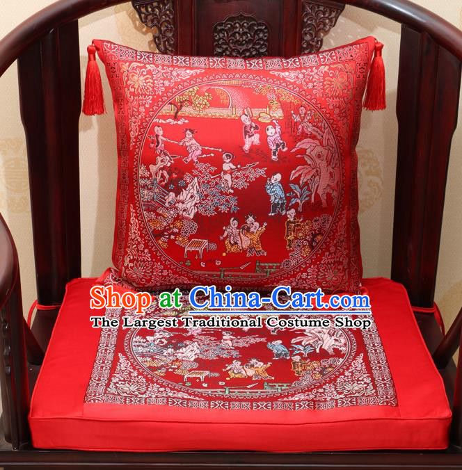 Chinese Classical Household Ornament Traditional Children Pattern Red Brocade Cushion Cover and Armchair Mat Cover