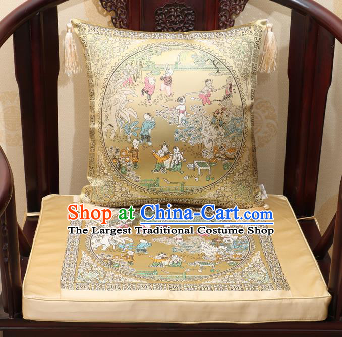 Chinese Classical Household Ornament Traditional Children Pattern Golden Brocade Cushion Cover and Armchair Mat Cover