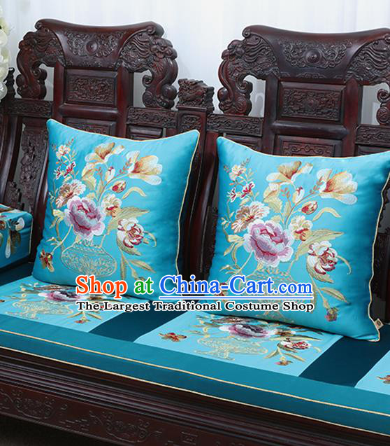 Chinese Traditional Embroidered Peony Blue Brocade Back Cushion Cover Classical Household Ornament