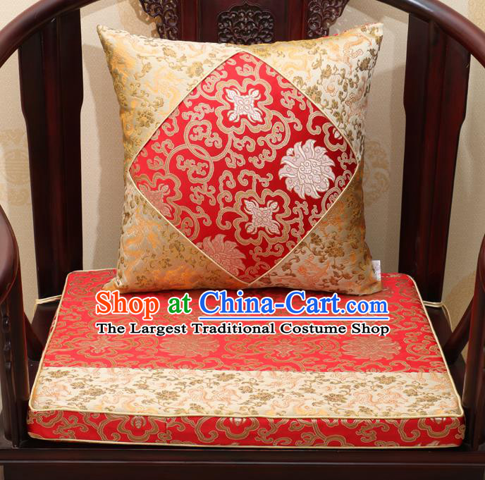 Chinese Classical Household Ornament Traditional Chrysanthemum Pattern Red Brocade Cushion Cover and Armchair Mat Cover