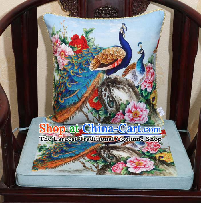 Chinese Classical Household Ornament Traditional Peacock Peony Pattern Blue Brocade Cushion Cover and Armchair Mat Cover