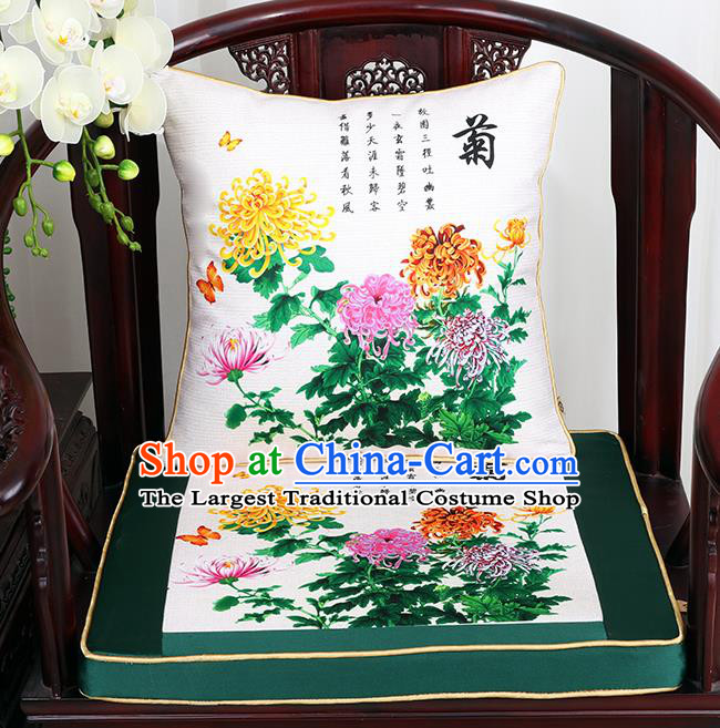 Chinese Classical Household Ornament Traditional Chrysanthemum Pattern White Brocade Cushion Cover and Armchair Mat Cover