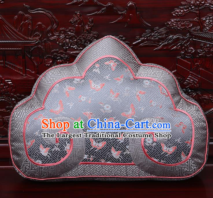 Chinese Traditional Arhat Bed Grey Brocade Back Cushion Cover Classical Household Ornament