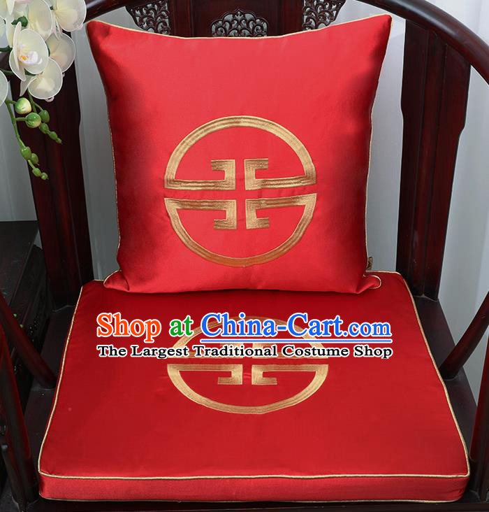 Chinese Classical Household Ornament Traditional Handmade Red Brocade Cushion Cover and Armchair Mat