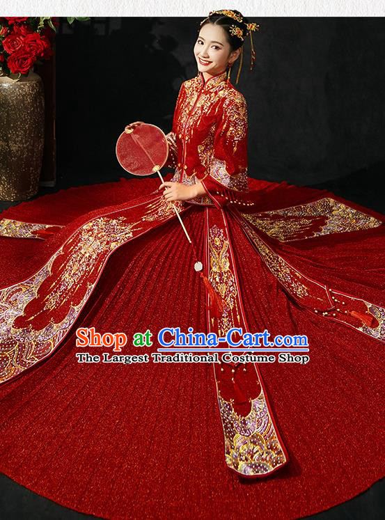 Chinese Traditional Wedding Costumes Red Xiuhe Suits Ancient Embroidered Bride Toast Full Dress for Women