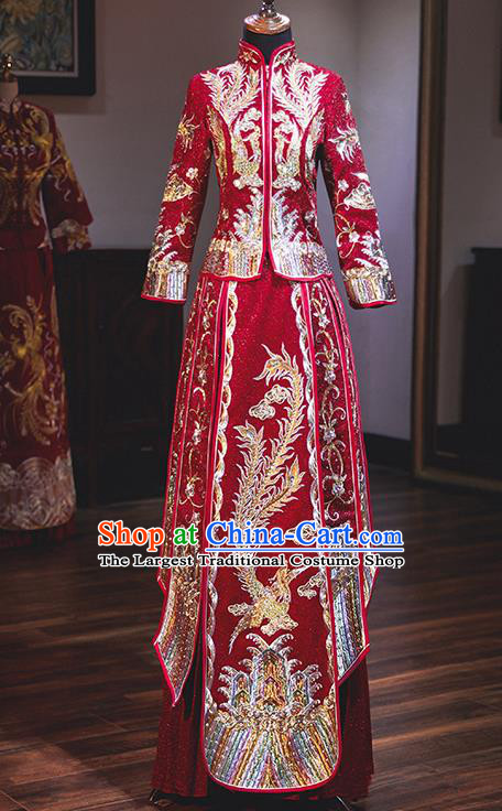 Chinese Traditional Wedding Costumes Embroidered Phoenix Red Xiuhe Suits Ancient Bride Toast Full Dress for Women