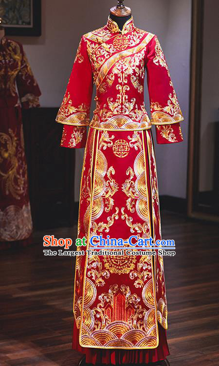 Chinese Traditional Embroidered Phoenix Red Xiuhe Suits Ancient Bride Toast Wedding Costumes for Women