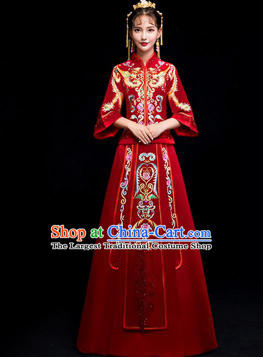 Chinese Traditional Bride Toast Embroidered Red Xiuhe Suits Ancient Wedding Costumes for Women