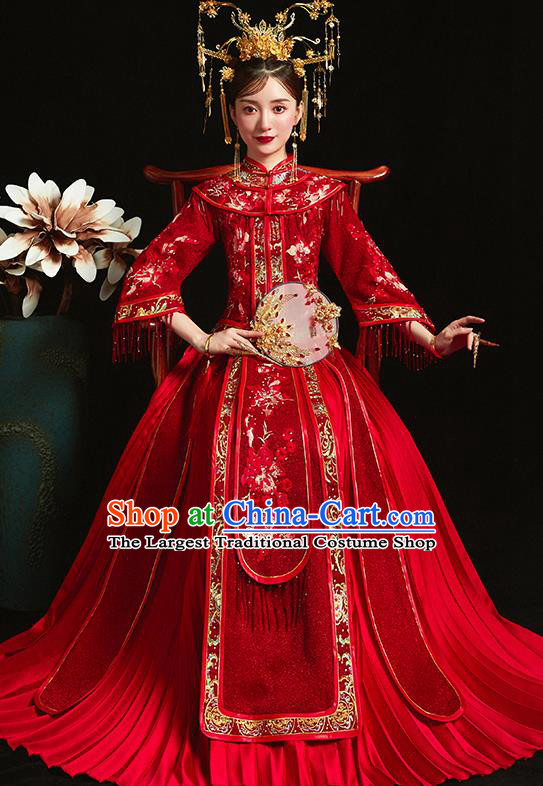 Chinese Traditional Bride Toast Embroidered Peony Red Xiuhe Suits Ancient Wedding Costumes for Women